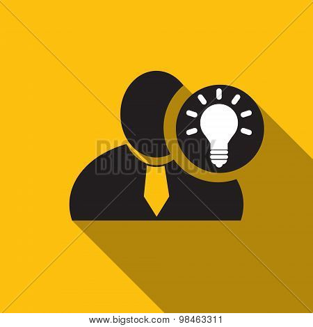 Bulb Black Man Silhouette Icon On The Yellow Background, Long Shadow Flat Design Icon For Forums Or
