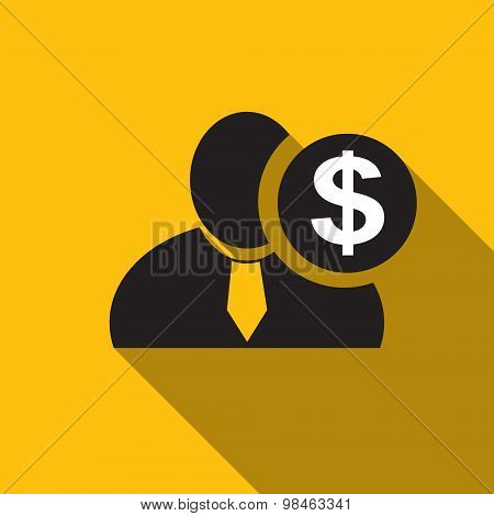 Dollar Black Man Silhouette Icon On The Yellow Background, Long Shadow Flat Design Icon For Forums O