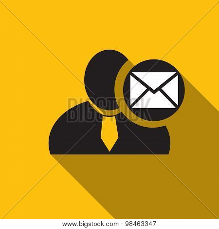 Envelope Or Email Black Man Silhouette Icon On The Yellow Background, Long Shadow Flat Design Icon F