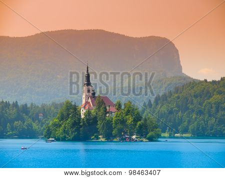 Bled Lake with island and church