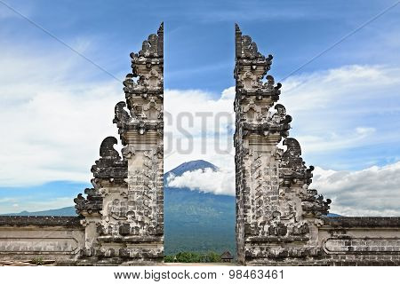 Symbol Bali - hindu temple on Agung mount background