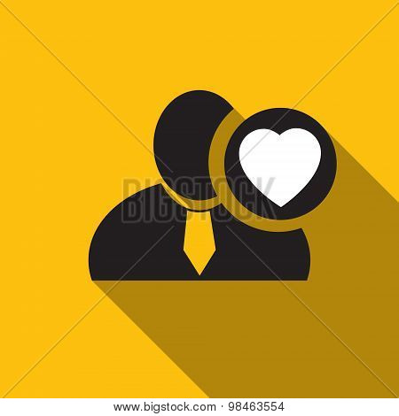 Heart Black Man Silhouette Icon On The Yellow Background, Long Shadow Flat Design Icon For Forums Or