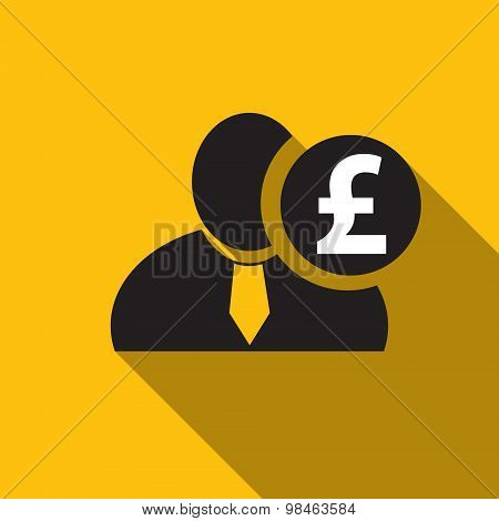British Pound Black Man Silhouette Icon On The Yellow Background, Long Shadow Flat Design Icon For F