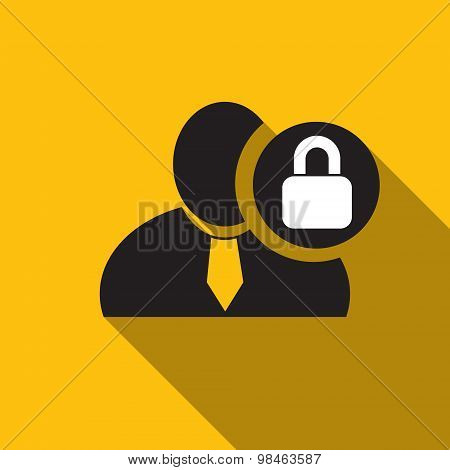 Lock Black Man Silhouette Icon On The Yellow Background, Long Shadow Flat Design Icon For Forums Or