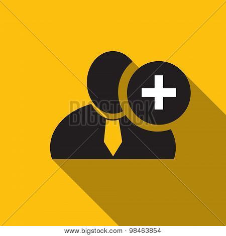 Plus Sign Black Man Silhouette Icon On The Yellow Background, Long Shadow Flat Design Icon For Forum