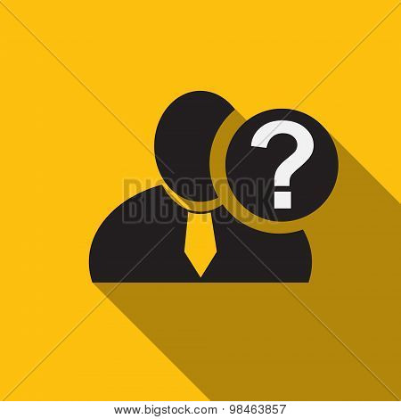 Question Mark Black Man Silhouette Icon On The Yellow Background, Long Shadow Flat Design Icon For F