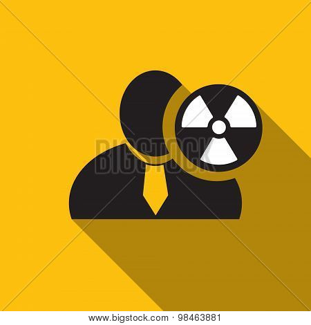 Radioactivity Black Man Silhouette Icon On The Yellow Background, Long Shadow Flat Design Icon For F