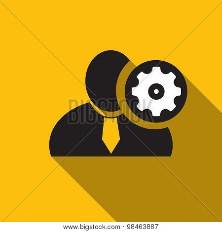 Set Up Black Man Silhouette Icon On The Yellow Background, Long Shadow Flat Design Icon For Forums O