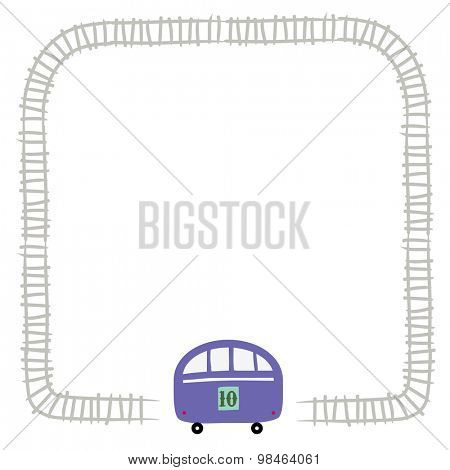 Toy train, locomotive, on railway. Vector illustration for kids with space for text insertion.