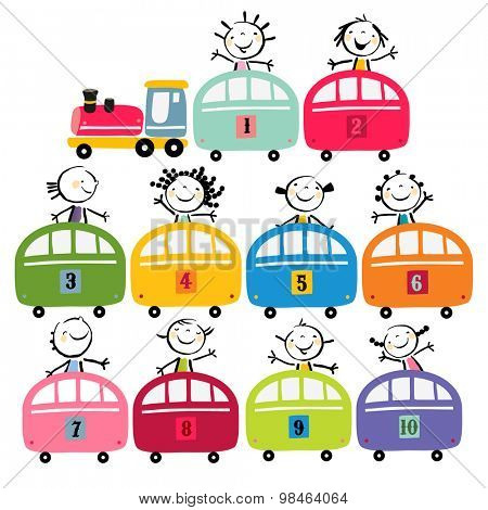 Toy train set, with happy preschool kids, toddlers. Vector cartoon illustration, doodle.