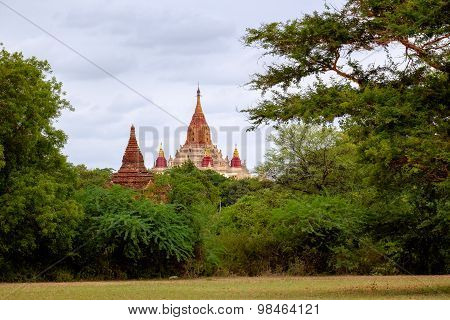 Landscape View Of Ancient Ananda Temple In Old Bagan, Myanmar