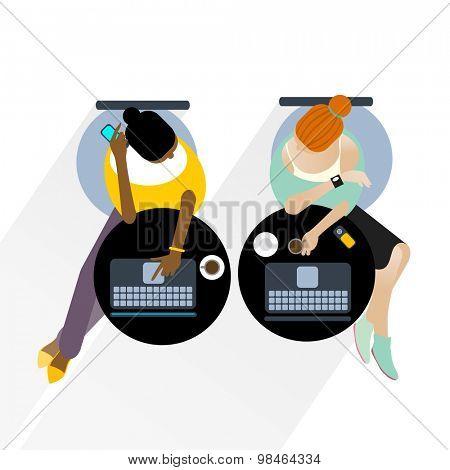 Two business women with laptop computers sitting, working. Vector illustration.