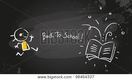 Back to school chalk on blackboard, girl with book. Vector doodle creative illustration, sketch.