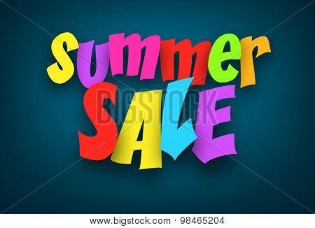 Colorful summer sale sign over dark blue background. Vector holiday illustration.