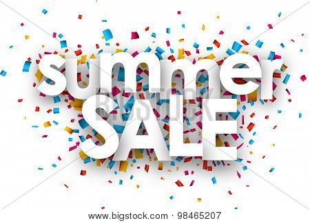 White summer sale sign over confetti background. Vector holiday illustration.