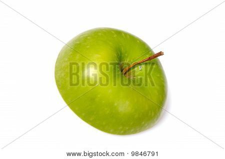 Fresh Green Apple Cut Into Slices. Isolated On White Background