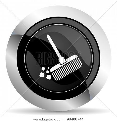 broom icon, black chrome button, clean sign