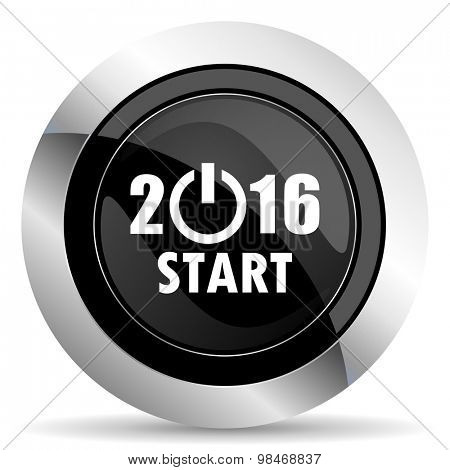 new year 2016 icon, black chrome button, new years symbol