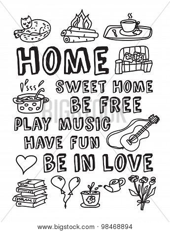 Home family relations icons black and white