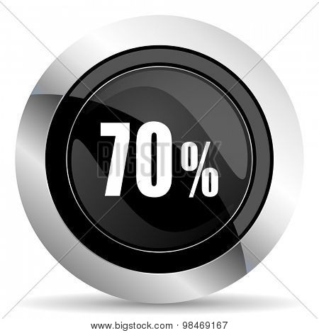 70 percent icon, black chrome button, sale sign