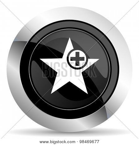 star icon, black chrome button, add favourite sign