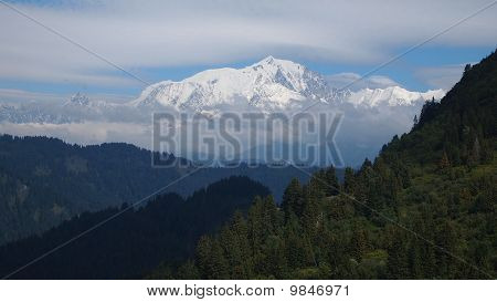 The Famous White Mount Called The Mont Blanc Viewed From The Aravis Pass, France, The Alps, Panorama
