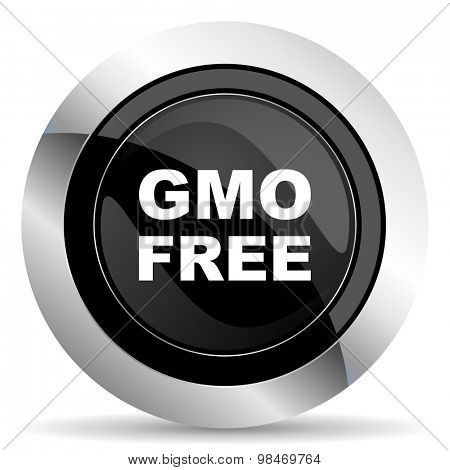 gmo free icon, black chrome button, no gmo sign