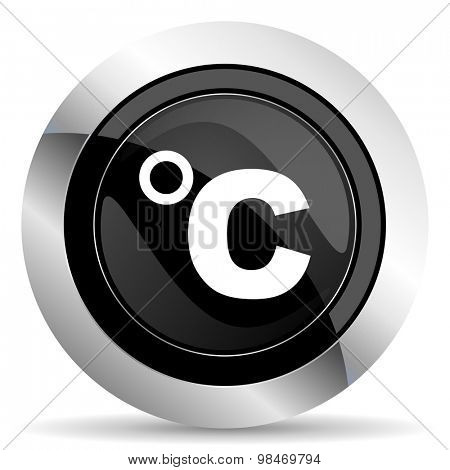 celsius icon, black chrome button, temperature unit sign