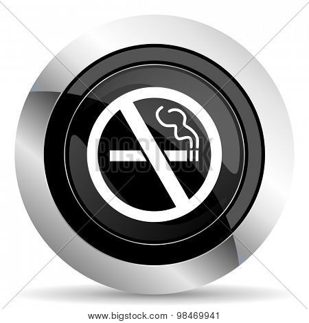 no smoking icon, black chrome button