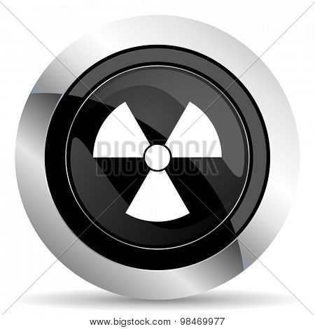 radiation icon, black chrome button, atom sign