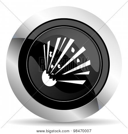 bomb icon, black chrome button