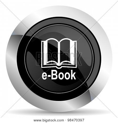 book icon, black chrome button, e-book sign