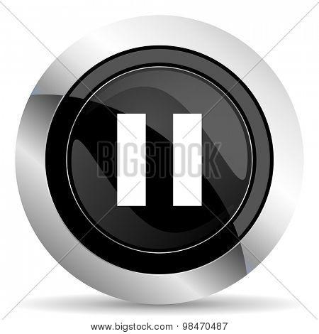 pause icon, black chrome button
