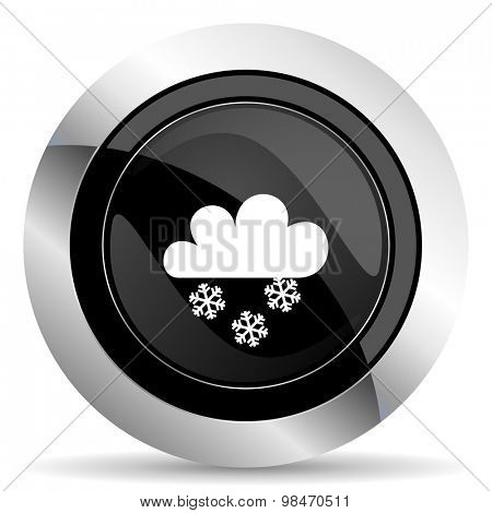 snowing icon, black chrome button, weather forecast sign