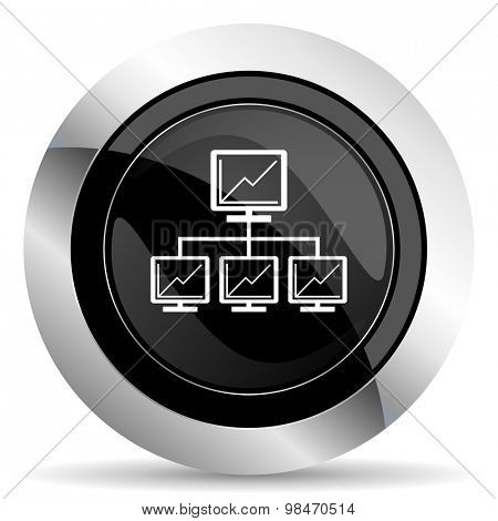 network icon, black chrome button, lan sign