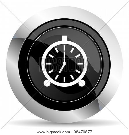 alarm icon, black chrome button, alarm clock sign