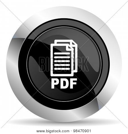 pdf icon, black chrome button, pdf file sign
