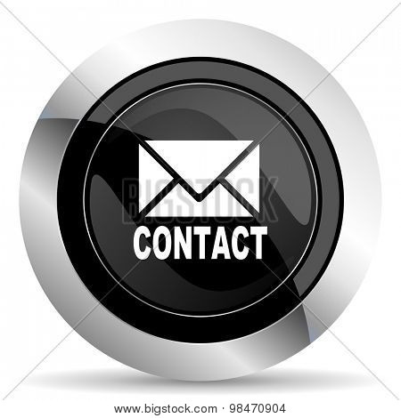 email icon, black chrome button, contact sign