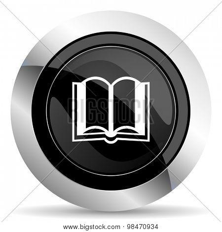 book icon, black chrome button