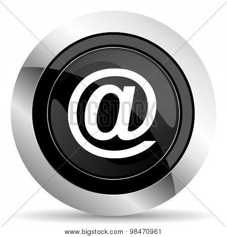 email icon, black chrome button