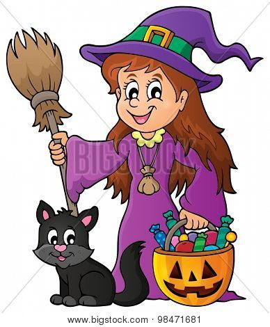 Cute witch and cat theme image 1 - eps10 vector illustration.