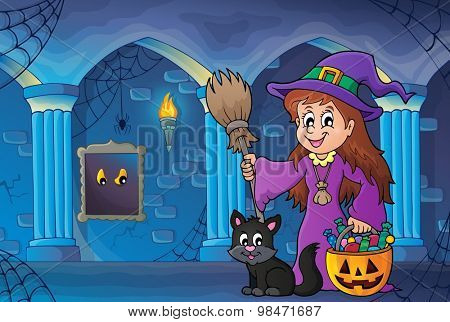 Cute witch and cat in haunted castle - eps10 vector illustration.