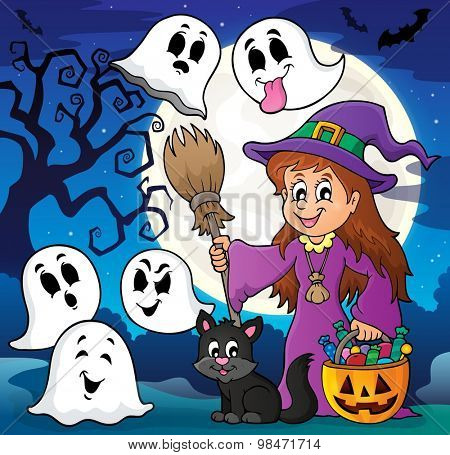 Cute witch and cat with ghosts 2 - eps10 vector illustration.