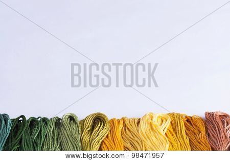 Embroidery Yarns On White Background
