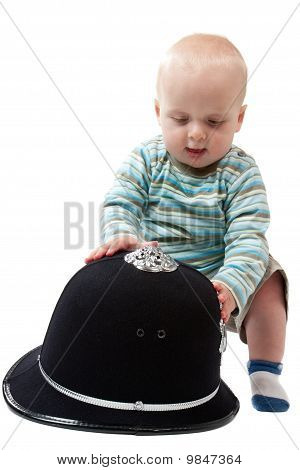 Baby Boy Playing With Police Helmet