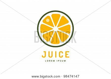 Lime or lemon fruit drink logo icon template design. Orange juice. Fruit slice. Fresh juice drink, y