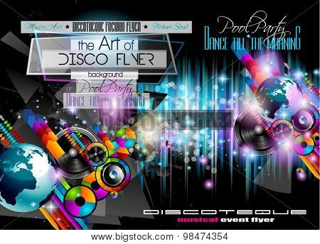 Club Disco Flyer Set with LOW POLY DJs and Colorful Scalable backgrounds. A lot of diffente style flyer for your techno, hip hop, electro or metal music event Posters and advertising printed material.