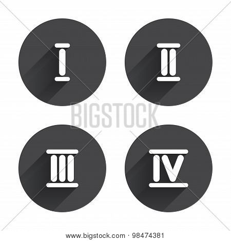 Roman numeral icons. Number one, two, three.