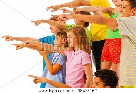 Large group of kids pointing finger side view
