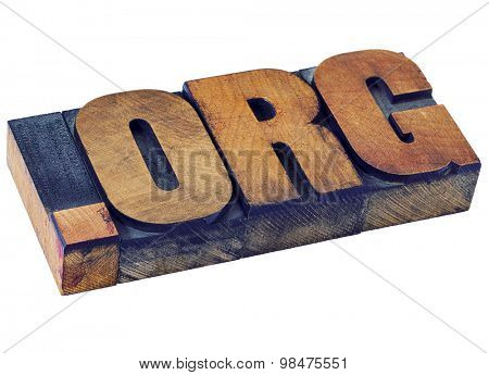 organization - dot org internet domain  - network address  for nonprofit  institution - isolated text in letterpress wood type stained by color inks